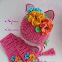Комплект для девочки: шапка и шарф крючком
