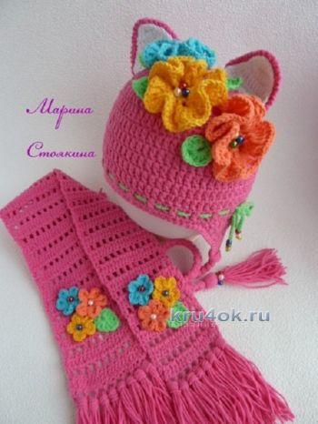 Комплект для девочки: шапка - кошка и шарф крючком