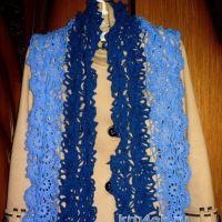 Вязаный крючком ажурный шарф. Ленточное кружево