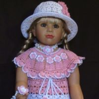 Платье, шапочка и повязка - комплект для девочки крючком