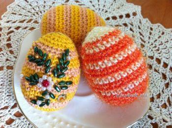 Пасхальное яичко крючком — работа Надежды Борисовой. Вязание крючком.