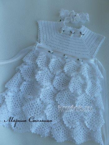 Платье для девочки на основе квадратной ажурной кокетки