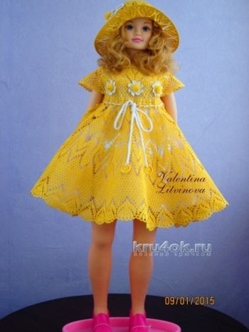 Платье и шляпка для девочки – работы Валентины Литвиновой. Вязание крючком.
