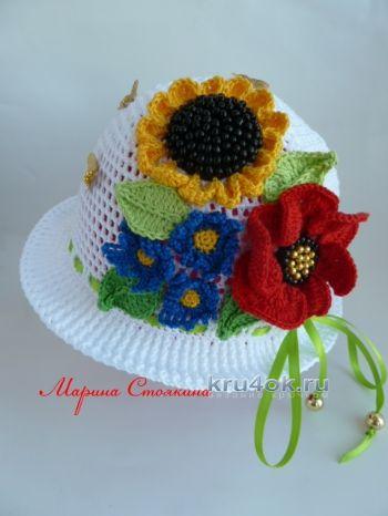 Детская шапочка крючком — работа Марины Стоякиной. Вязание крючком.