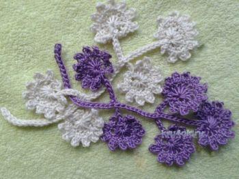 Веточка с мелкими цветками. МК ирландское кружево. Вязание крючком.