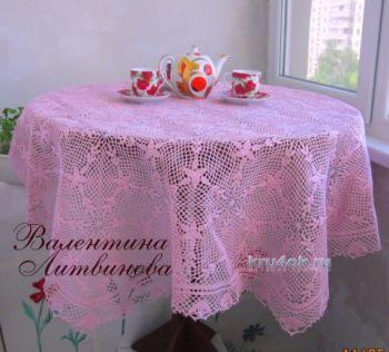 Скатерть крючком — работа Валентины Литвиновой. Вязание крючком.