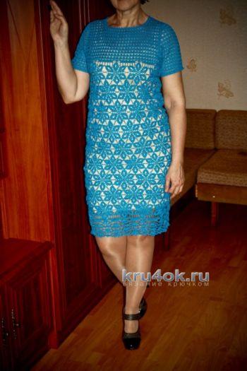 Голубое платье крючком — работа Анжелы. Вязание крючком.