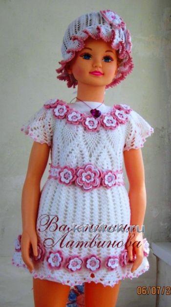 Платье и панама – комплект для девочки крючком. Вязание крючком.