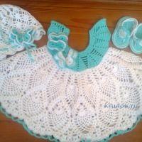 Платье, шапочка и пинетки для девочки — работы Ирины