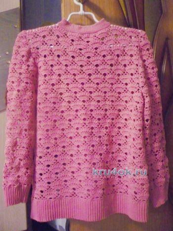 Вязаный крючком свитер – работа Татьяны. Вязание крючком.