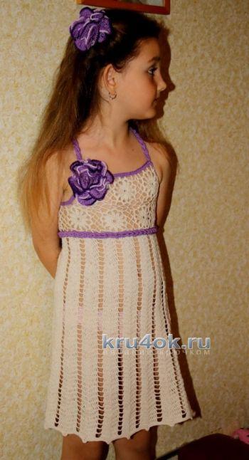 Ажурное платье для девочки – работа Ефимии Андреевских. Вязание крючком.