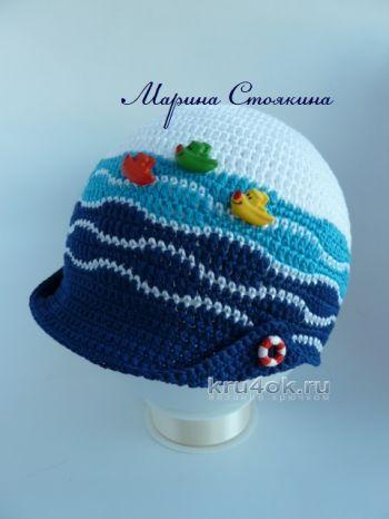 Кепка для мальчика и шапочка для девочки в морском стиле. Вязание крючком.