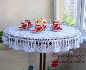 Круглая скатерть – работа Валентины Литвиновой. Вязание крючком.