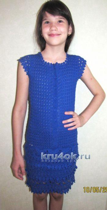 Ажурное платье для девочки – работа Арины. Вязание крючком.