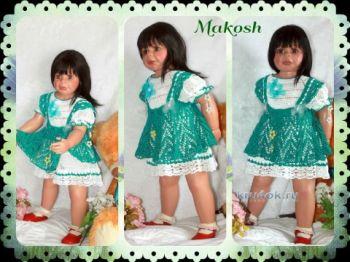 Комплект для девочки — работа Ирины Кангаш. Вязание крючком.