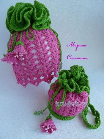 Шапочка и сумочка для девочки — работа Марины Стоякиной. Вязание крючком.