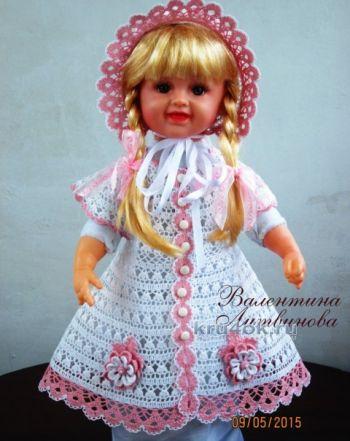 Платье, панама и капор для девочки — работы Валентины Литвиновой. Вязание крючком.