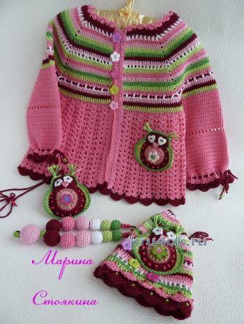Комплект для девочки – работа Марины Стоякиной. Вязание крючком.