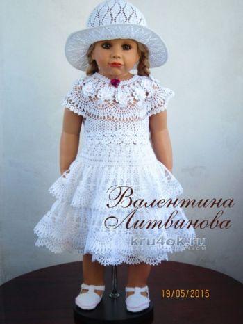 Платье, шляпка и пояс для девочки — работы Валентины Литвиновой. Вязание крючком.