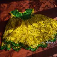 Платье крючком для девочки — работа Ирины