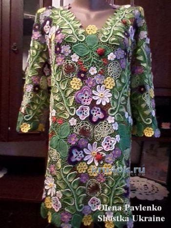 Блуза в технике ирландского кружева – работа Елены Павленко. Вязание крючком.