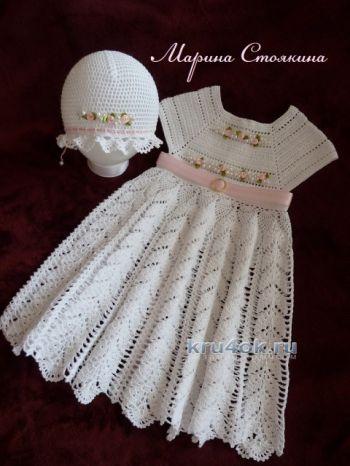 Платье и шапочка для девочки – работа Марины Стоякиной. Вязание крючком.