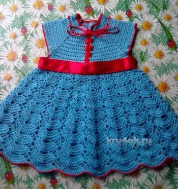 Связать крючком ажурное детское платье