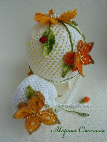 Сумочка и шапочка для девочки — работы Марины Стоякиной. Вязание крючком.