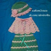 Платье, накидка и шапочка для девочки крючком