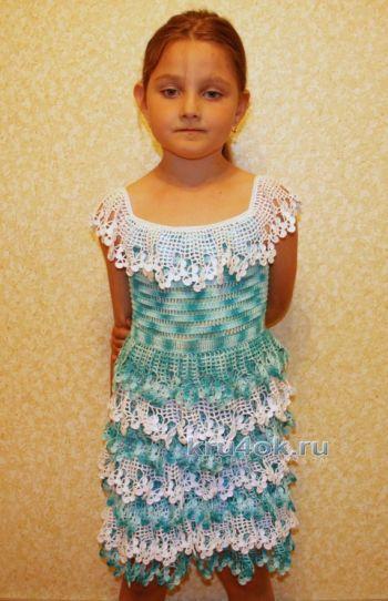 Платье для девочки Бирюза. Мастер – класс!. Вязание крючком.