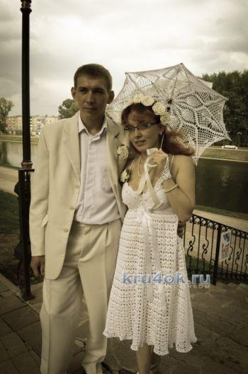 Свадебный наряд – работа Татьяны Сакадиной. Вязание крючком.