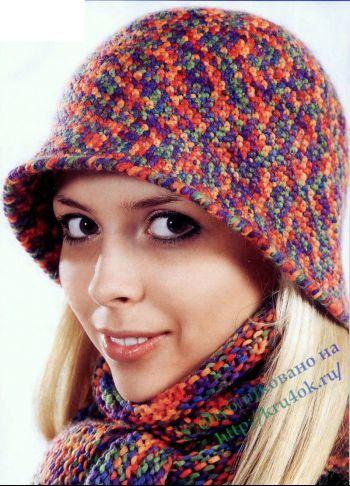 Вязаная шляпка и шарф. Вязание