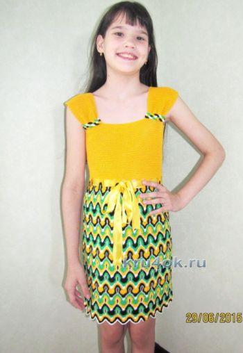Платье для девочки Солнечное лето – работа Арины. Вязание крючком.