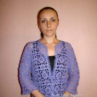 Ажурный жакет крючком — работа Евгении Руденко