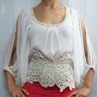 Блуза, декорированная ирландским кружевом