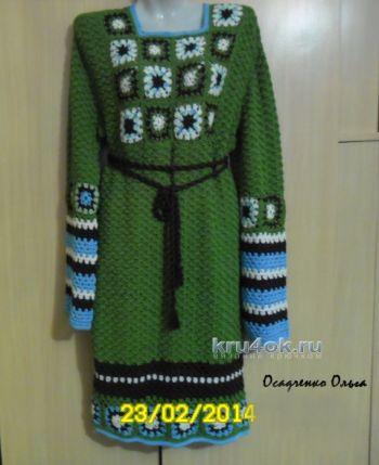 Вязаное крючком платье бохо стиль