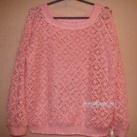 Ажурный пуловер крючком — работа Евгении Руденко