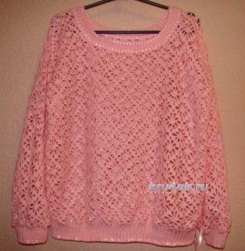 Ажурный пуловер крючком – работа Евгении Руденко. Вязание крючком.