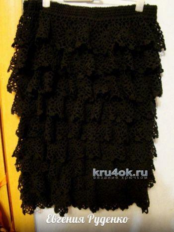 Вязаная крючком юбка для женщин с воланами