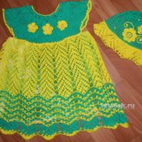 Платье и шапочка для девочки — работы Галины Лукериной