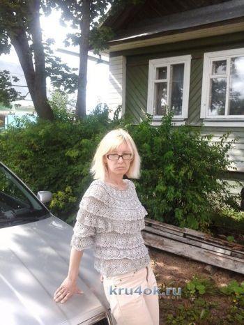 Вязаная блуза Цветочная соната – работа Нины. Вязание крючком.