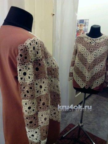 Комбинированный свитер – работа Аллы. Вязание крючком.