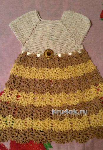 Платье для девочки – работа Юлии Галецкой. Вязание крючком.