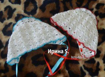 Чепчик для новорожденного - работа Ирины Стильник