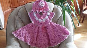 Платье и панама для девочки – работа Ольги. Вязание крючком.