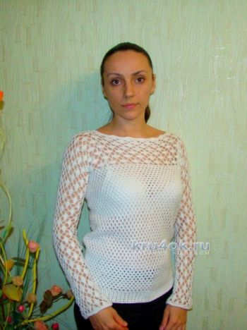 Вязаный пуловер – работа Евгении Руденко. Вязание крючком.