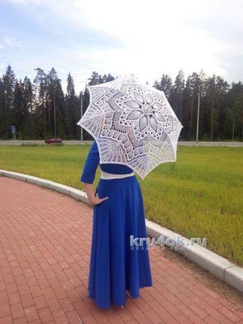 Вязаный зонт – работа Нины. Вязание крючком.