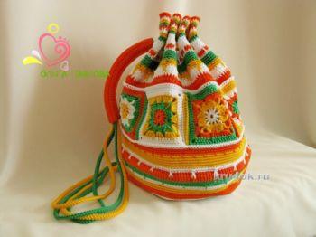 Вязаные крючком рюкзаки от Ольги Павловой