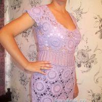 Вязаное крючком платье. Работа Людмилы