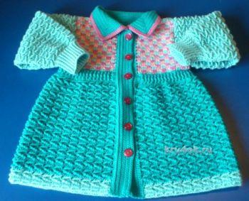 Вязаное крючком пальто для девочки. Работа Елены Аферовой
